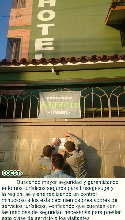 Control a establecimientos prestadores de servicios turísticos.