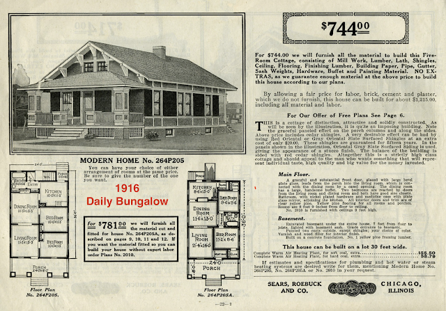 black and white catalog image of Sears Winona 1916, from Daily Bungalow