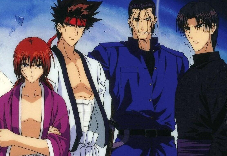 kenshin himura, sanosuke sagara, hajime saito and aoshi shinomori