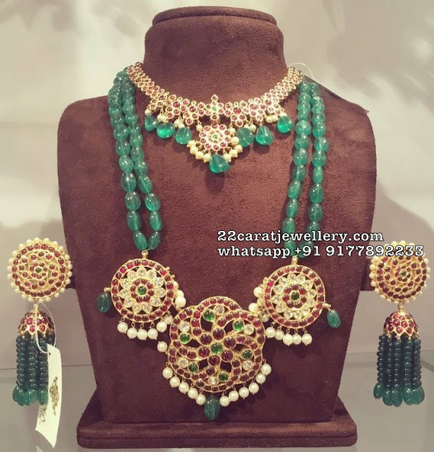 Emerald Beads Haram with Kundan Pendant