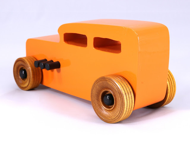Handmade Wooden Toy Car Hot Rod 1932 Ford Sedan Hot Rod Freaky Ford Orange Black