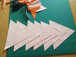 picture showing 6 triangles on cutting mat