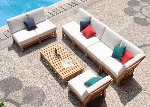 New Luxurious 7 Piece Teak Sectional Sofa Set