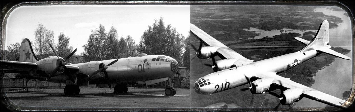бомбардировщики Ту-4 и В-29