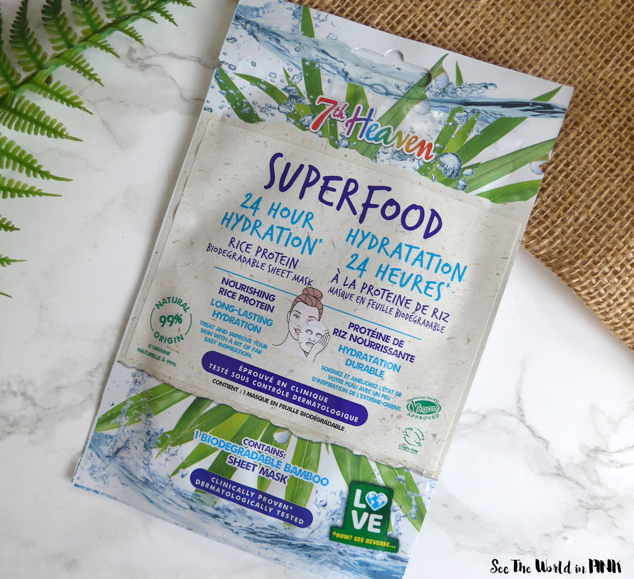 7th Heaven Superfood Avocado, Rice Protein, and Turmeric Bamboo Biodegradable Sheet Masks