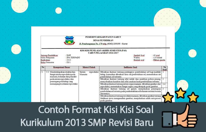 Contoh Format Kisi Kisi Soal Kurikulum 2013 Smp Revisi Baru