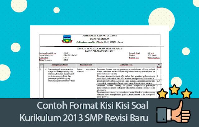 Contoh Format Kisi Kisi Soal Kurikulum 2013 SMP