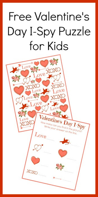 FREE Valentines Day I Spy Printables - this is such a fun, free printable Valentine's Day activity for kids of all ages. This valentines day game is perfect for parties, seat work, homework, and more for toddler, preschool, kindergarten, and first grade kids.