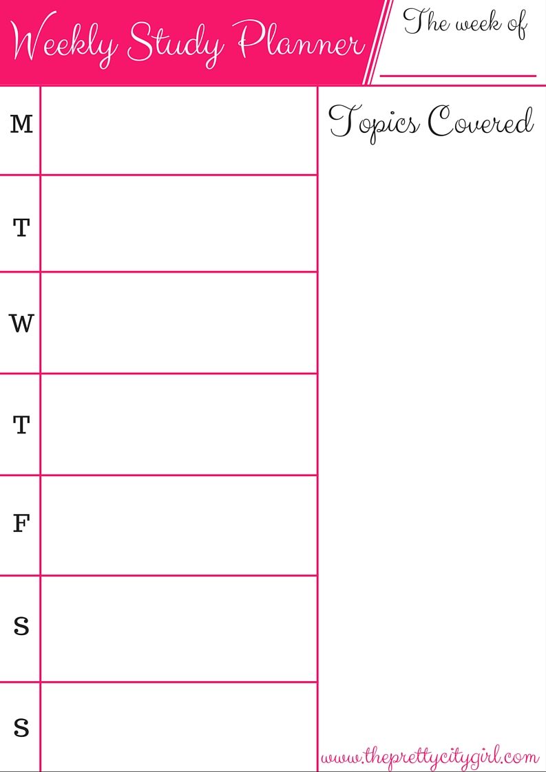 Weekly Study Planner Printable - The Pretty City Girl