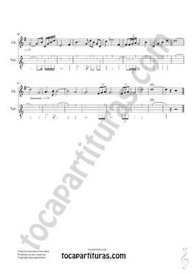 Hoja 3  Ukelele Tablatura y Partitura de Meditación Punteo Tablature Sheet Music for Ukelele Tabs Music Scores PDF/MIDI de Ukelele