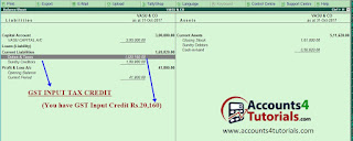 how to know gst input tax credit in balance sheet