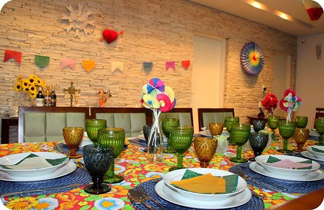 Decoração da Mesa : Jantar Caipira - Junino
