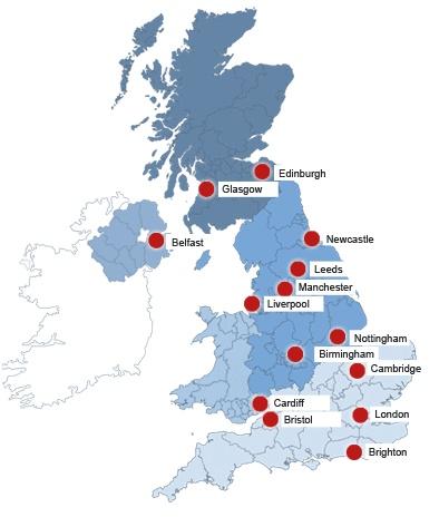 İngiltere'deki Şehirler Harita