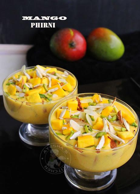 mango desserts mango phirini recipe indian desserts festive desserts mango pudding kheer mango payasam ayeshas kitchen sweets recipes desserts recipes malabar desserts