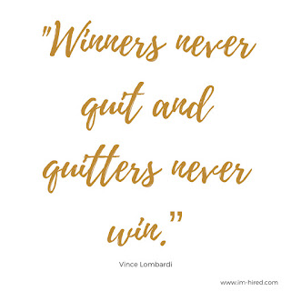 """Quote - """"Winners never quit and quitters never win.""""   -Vince Lombardi"""
