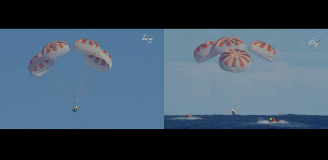 Completing an end-to-end uncrewed flight test, Demo-1, SpaceX's Crew Dragon departed the International Space Station at 2:32 a.m. EST Friday, March 8, 2019, and splashed down at 8:45 a.m. in the Atlantic Ocean about 200 nautical miles off the Florida coast. Credits: NASA Television