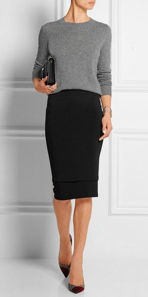 business style addict / grey top + black skirt + heels + bag