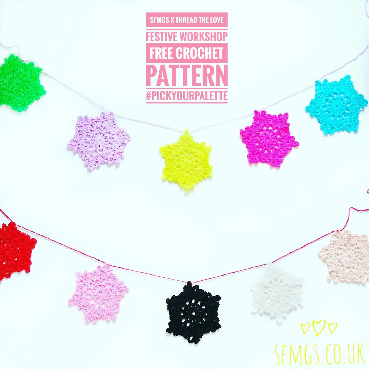 crochet snowflake pattern free christmas garland diy
