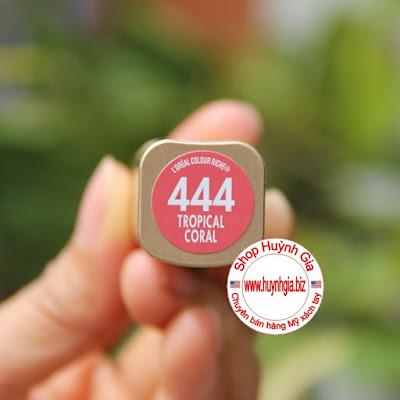 Son môi lì L'oreal colour riche 444 tropical coral màu hồng san hô hàng Mỹ xách tay www.huynhgia.biz