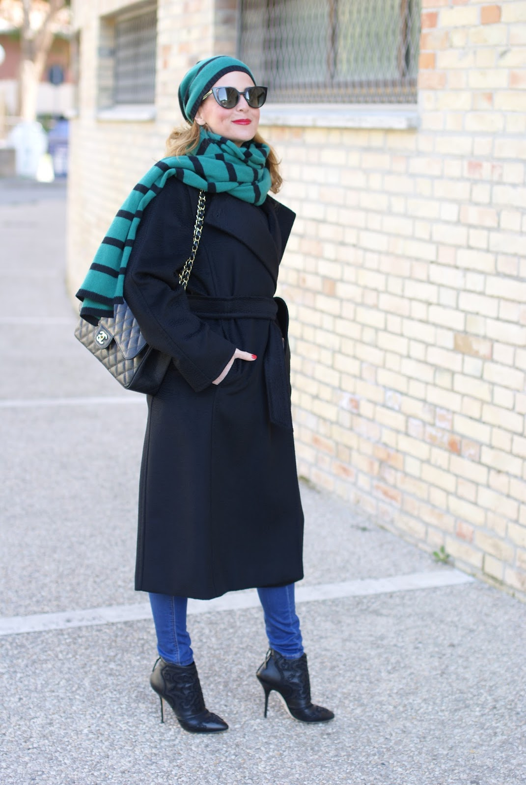 Matchy matchy scarf and hat, Max Mara coat and Chanel bag on Fashion and Cookies fashion blog, fashion blogger style