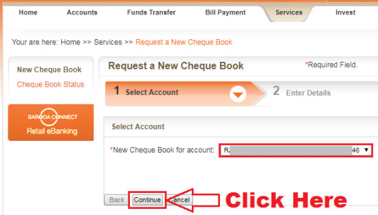 how to apply for cheque book in bank of baroda