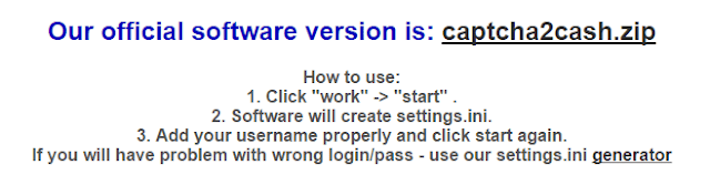 Captcha2cash offlicial software page