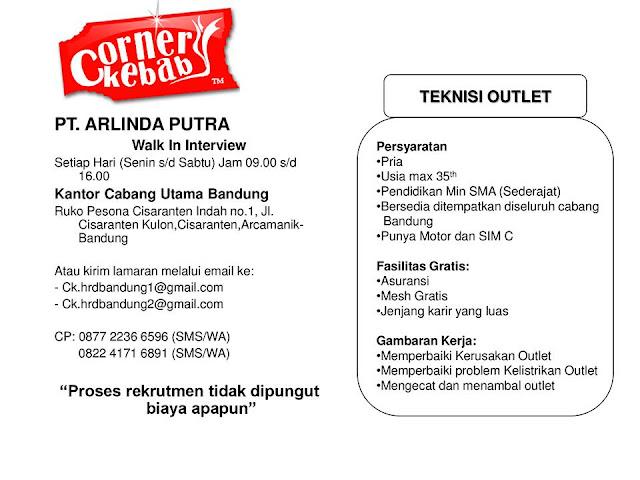Lowongan Kerja PT. Arlina Putra (Corner Kebab) Bandung