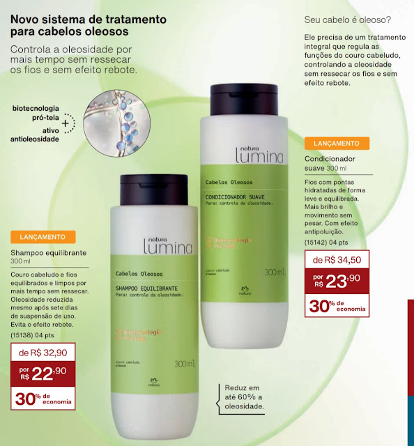 resenha novo sistema de tratamento cabelos oleosos shampoo e condicionador  natura lumina dicas da tia