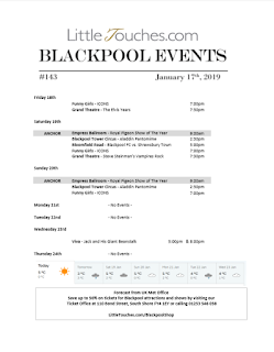 B2B Blackpool Hotelier Free Resource - Blackpool Shows and Events January 18 to January 24 - PDF What's On Guide Listings Print-off #143 Thursday January 17