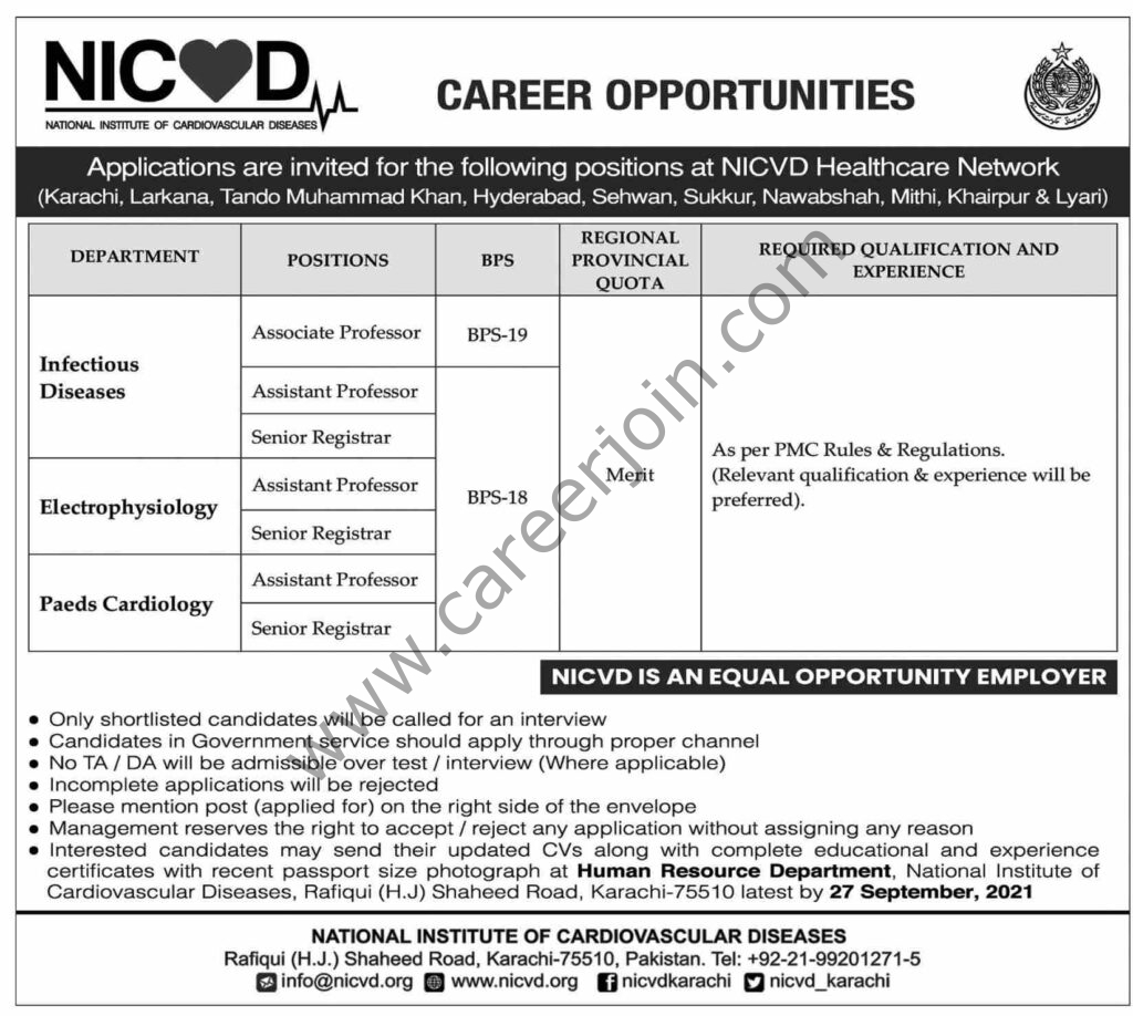 NICVD National Institute of Cardiovascular Diseases Jobs 2021 in Pakistan