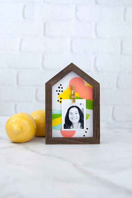 House-shaped Photo Frame Tutorial from www.jengallacher.com featuring acrylic paint and a frame from Jillibean Soup. #jillibeansoup #mixthemedia #jengallacher #frame #craftdiy #acrylicpaint