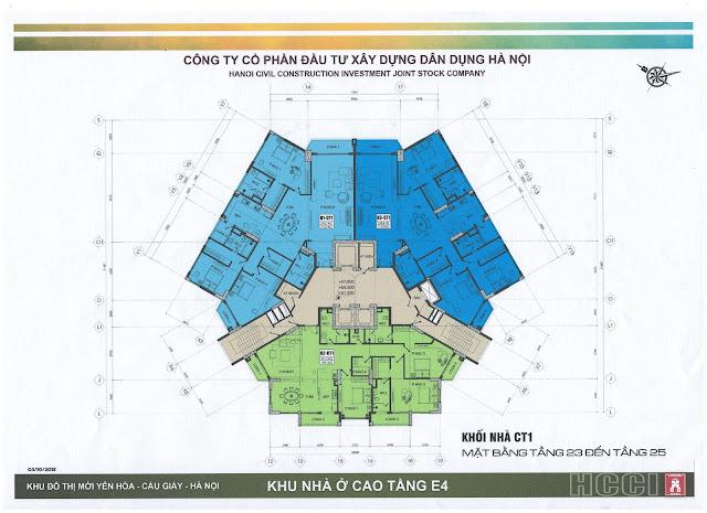 mặt bằng tòa ct1 chung cư park view city yên hòa tầng 23 - 25