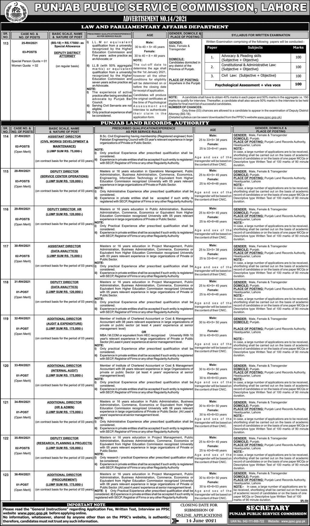 Advertisement No.14/2021 - Punjab Public Service Commission (PPSC) Jobs 2021 in Pakistan