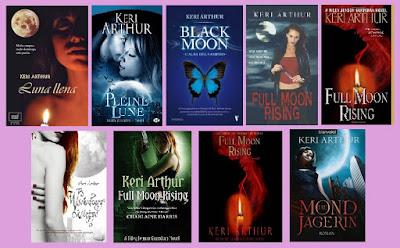 portadas de la novela paranormal Luna llena, de Keri Arthur