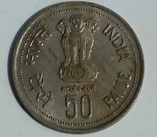 50 Paise Coin1917-1984 INDRA GANDHI Photo 1985 Coin Price