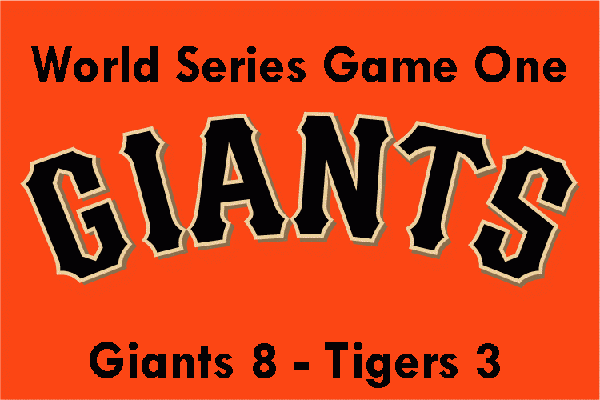 San Francisco Giants won game #1 of world series tigers