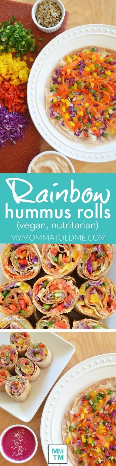 Rainbow Hummus Rolls
