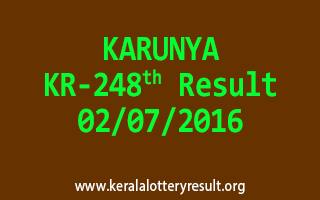 KARUNYA Lottery KR 248 Results 2-7-2016