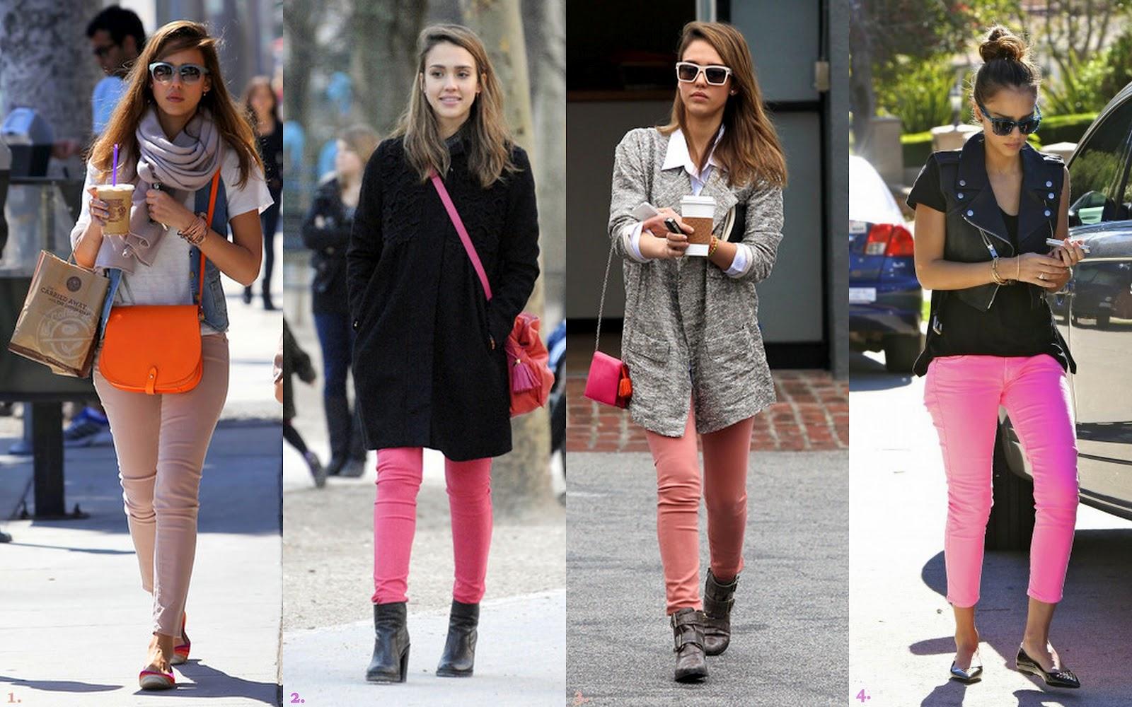 137da37fe605 Frills and Thrills  Jessica Alba Takes On the Coloured Denim Trend