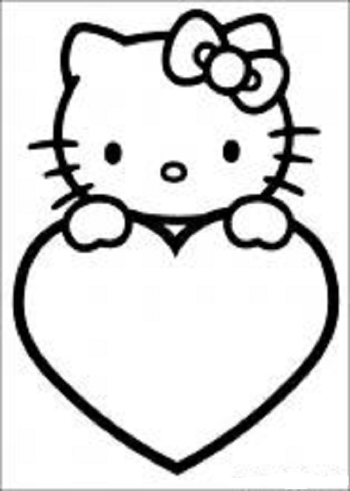 Hello Kitty Valentines Day Card Coloring Page title=