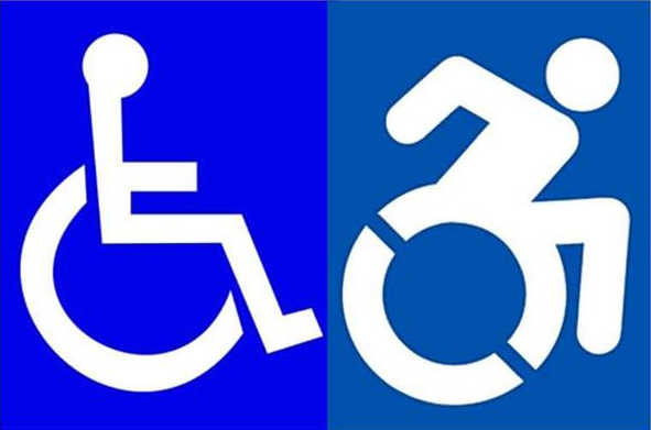 Comparison of two disability access symbols Left: current symbol widely in use Right: newly proposed 'active' symbol. The new symbol has the wheelchair user leaning forward with the arms poised behind to imply movement (self-propulsion).