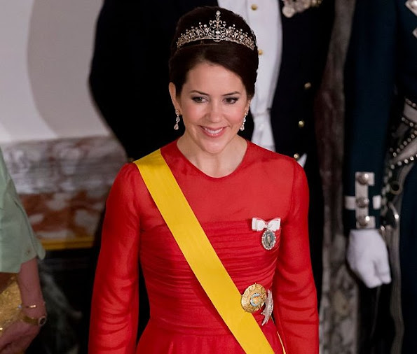 Crown Princess Mary of Denmark attend a State Banquet at Fredensborg Palace