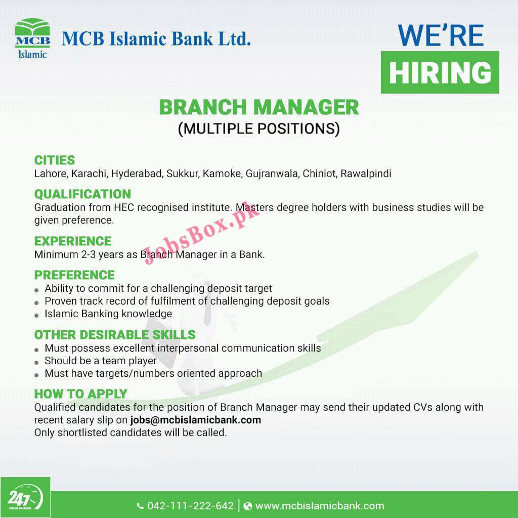 Latest MCB Islamic Bank Limited Jobs Advertisement 2021