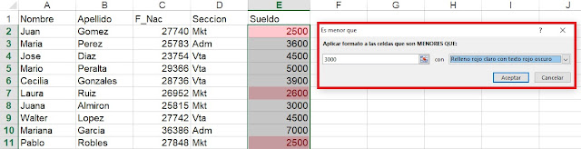 Resaltar celdas con formato condicional en Microsoft Excel