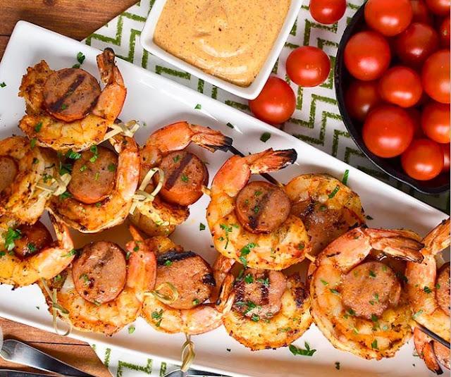 Sausage and Shrimp Kabobs #dinner #grilling