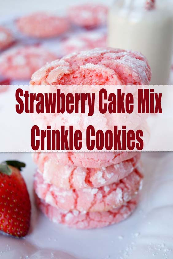 Strawberry Cake Mix Crinkle Cookies