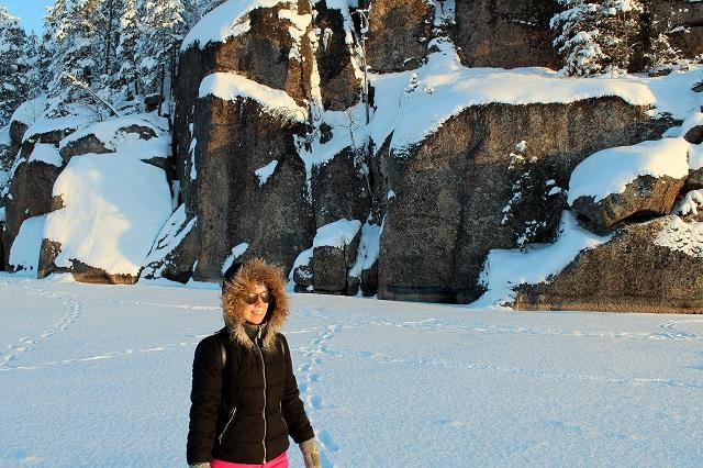 Lintuinvuoren kallio talvella