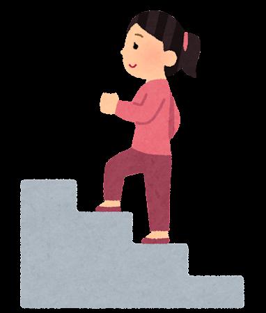 階段を登る人のイラスト(女性)
