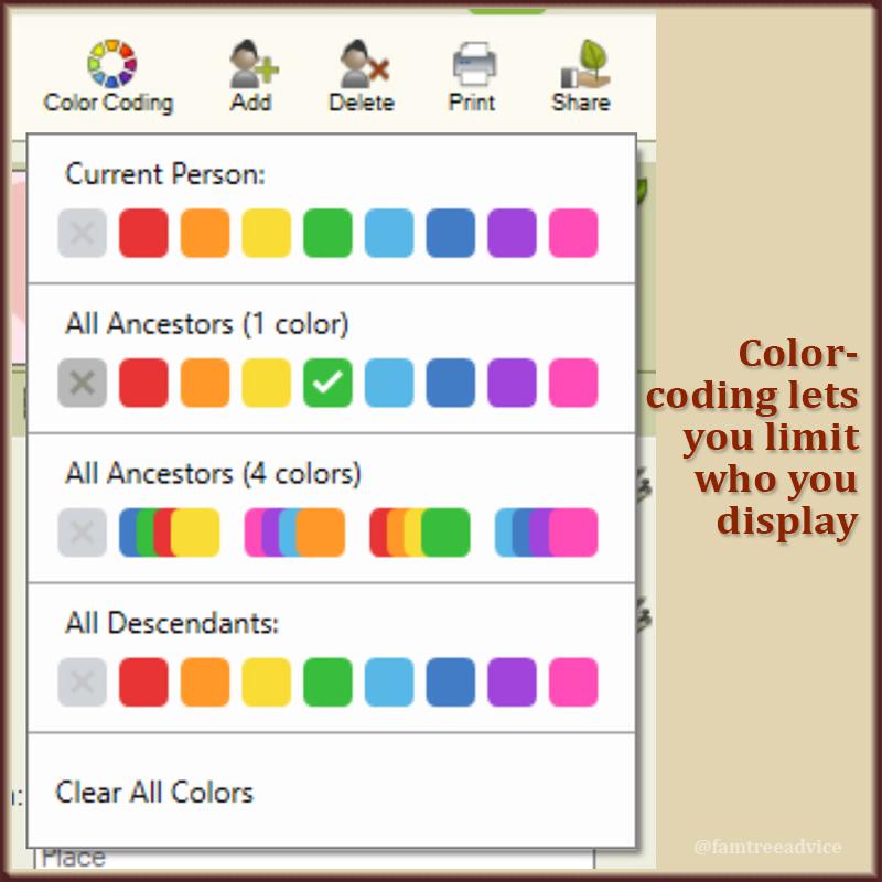Color-coding lets you limit who you display.
