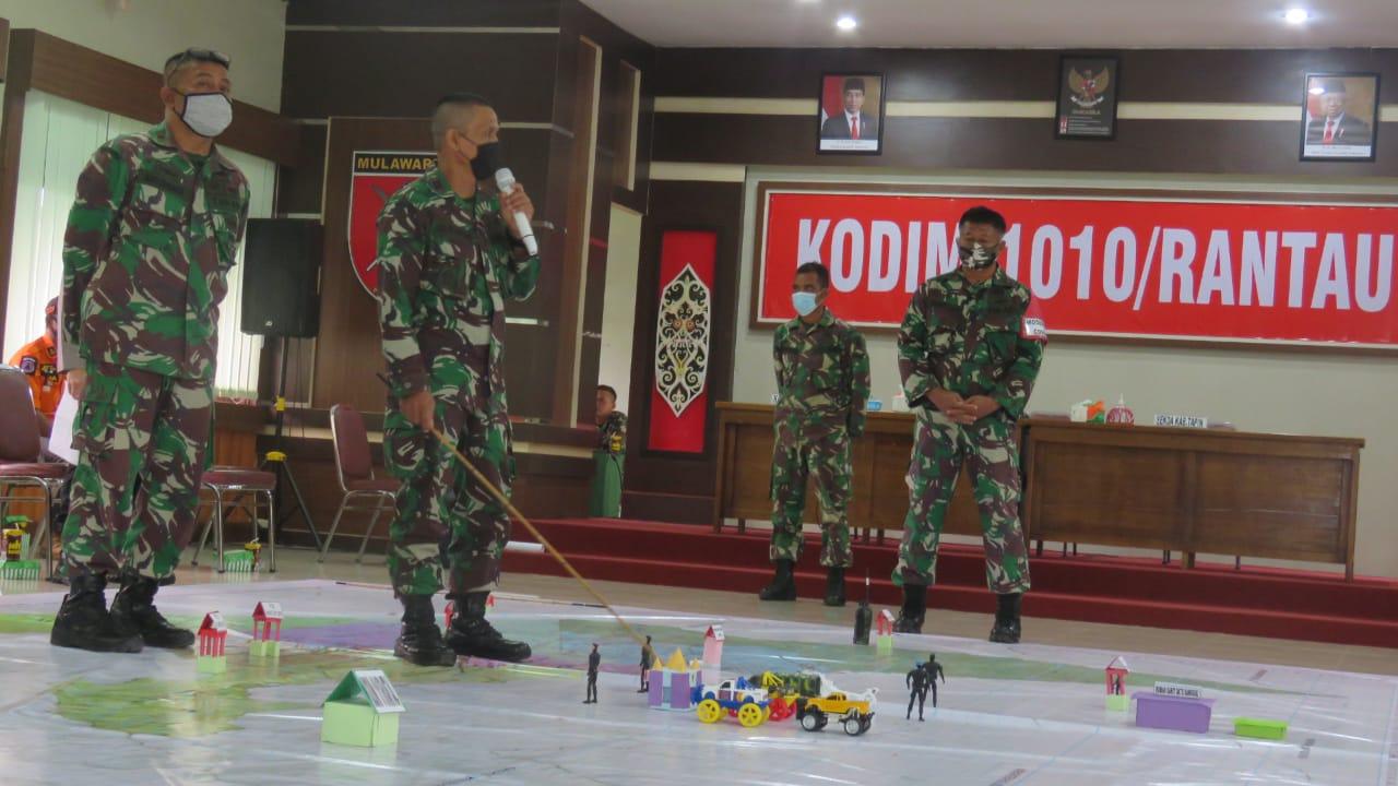 Sebagai Langkah Pencegahan Penyebaran Covid-19, Kodim 1010/Rantau Menggelar Simulasi Tactical Floor Game Penegakan Disiplin Protokol Kesehatan